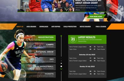 Basketball Ireland website developed by Sports Manager
