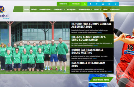 Basketball Ireland mobile responsive website developed by sports manager